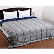 Snoopy Home Ultra Soft Microfibre Reversible Double Bed Comforter - King Size, Navy Blue and Grey for Rs. 1,461
