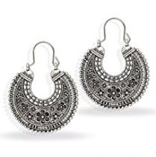 Jaipur Mart Indian Oxidised Silver Plated Stud Hoop Bali Earring For Women (Silver, Queen, 1 Pair) for Rs. 209