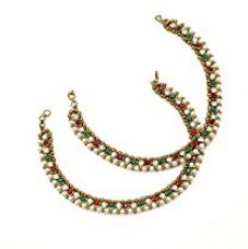 Buy Charms Red & Green Stone With Pearl Alloy Anklet For Women & Girls from Amazon