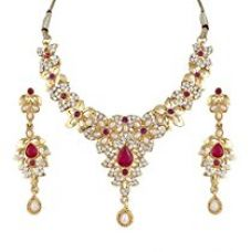 Buy Variation Gold Plated Pearl Pink Necklace Set For Women from Amazon