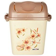 Nayasa Swing Dustbin with Lid, 13.5 Litres, Brown for Rs. 385