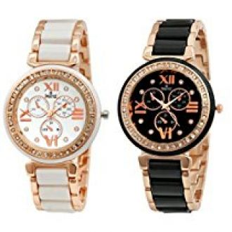 Swisstyle Analogue White Dial & Black Dial Womens Watches (Ss-703W-703B)(Set of 2) for Rs. 499