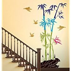 Buy Decals Design 'Bamboo Trees with Rocks and Birds Jungle Scenery' Wall Sticker (PVC Vinyl, 50 cm x 70 cm) from Amazon