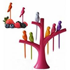 Buy Birdie Plastic Fruit Fork Set with Stand, 6-Pieces, Multicolour from Amazon