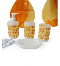 Buy Go Hooked Orange And  Yellow Bathroom Set - 6 Pcs for Rs. 679