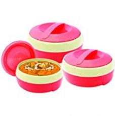 Get 21% off on Princeware Solar Plastic Casserole Set, 3-Pieces, Pink