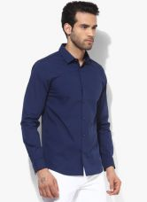 Flat 50% off on United Colors of Benetton Navy Blue Solid Slim Fit Casual Shirt