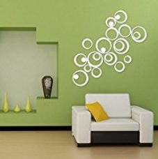 Sehaz Artworks 'Rings' Wall Decal (Acrylic, 17 cm x 17 cm, Silver) for Rs. 318
