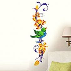 Buy Decals Design 'Vertical Floral and Bird' Wall Sticker (PVC Vinyl, 60cm x 45 cm) from Amazon