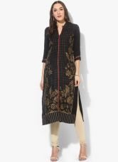 Buy W Black Printed Viscose Kurta for Rs. 750