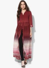 Biba Maroon Printed Long Top for Rs. 850