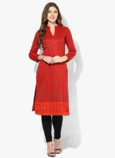 Get 40% off on Biba Red Yarn Dyed Poly Cotton Kurta