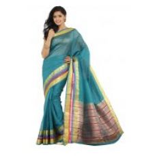 Get 54% off on Parchayee Solid Green Mysore Chanderi Art Silk Saree 94467B