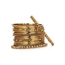 Buy YouBella Antique Look Gold Plated Traditional Bracelet Bangle set for women (2.4) from Amazon