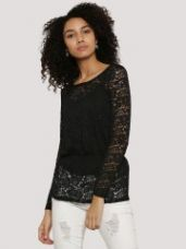 Flat 55% off on J.D.Y Sheer Lace Peplum Top