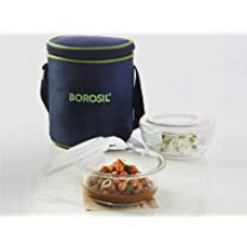 Borosil Glass Tiffin Set, 400ml, Set of 2, Clear for Rs. 600