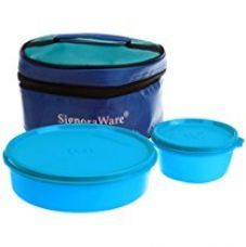 Signoraware New Classic Small Plastic Lunch Box with Bag, 550ml, T Blue for Rs. 350