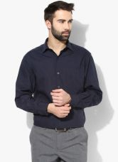 Buy John Players Navy Blue Solid Formal Shirt for Rs. 450