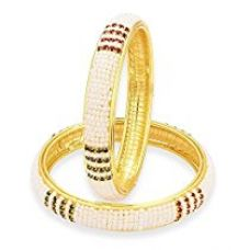 Buy YouBella Gold Plated Pearl Bangles Jewellery For Girls/Women (2.4) from Amazon