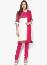 Buy Aurelia Cream Printed Polyester Churidar Kameez Dupatta from Jabong
