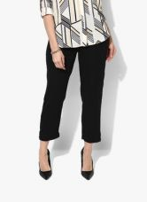 Buy W Black Solid Regular Fit Coloured Pants for Rs. 850