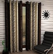 Home Sizzler Abstract Eyelet Polyester Long Door Curtain Set - 9ft, Set of 4, Brown for Rs. 678