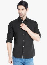 Buy Park Avenue Black Solid Slim Fit Casual Shirt from Jabong
