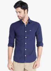 Flat 50% off on Park Avenue Navy Blue Solid Slim Fit Casual Shirt