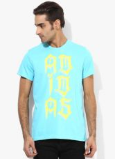 Buy Adidas Tribe Lineage Aqua Blue Round Neck T-Shirt from Jabong