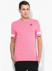 Buy Adidas Kanoi Prem Ss T Pink Round Neck T-Shirt from Jabong