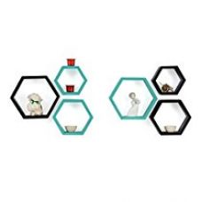 Forzza Sasha Wall Shelf, Set of 6 (Lacquer Finish, Black and Teal) for Rs. 1,499