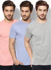 Get 50% off on John Players Pack Of 3 Multicoloured Solid Round Neck T-Shirts