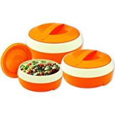 Buy Princeware Solar Plastic Casserole Set, 3-Pieces, Orange from Amazon