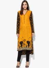 Flat 50% off on Biba Mustard Yellow Printed Kurta
