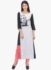 W Off White Printed Viscose Kurta for Rs. 900