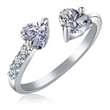 Karatcart Platinum Plated Trendy Elegant Austrian Crystal Heart Cut Adjustable Ring for Women for Rs. 239