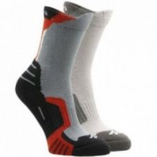 Buy 2 pairs of long length child's mountain hiking crossocks in red from Decathlon