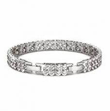 Buy NEVI Stylish New Dual Round Fashion Swarovski Crystals Rhodium Plated Brass Dual Strand Bracelet Bangle Jewellery for Women And Girls (Silver) from Amazon
