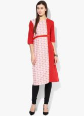 Aurelia Red Printed Kurta for Rs. 360