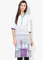 Buy Aurelia White Printed Kurta from Jabong