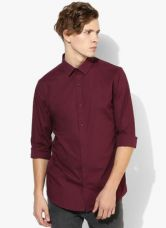 Get 40% off on United Colors of Benetton Maroon Solid Slim Fit Casual Shirt