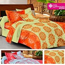 Buy Casa Basic 144 Thread Count Double Bedsheet With 2 Pillow Cover-Orange & Green from Amazon