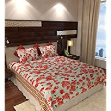 Home Candy 144 TC Floral Cotton Double Bedsheet with 2 Pillow Covers - Red (CTN-BST-340) for Rs. 499