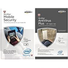 McAfee Antivirus Plus - 1 PC, 1 Year (Voucher) + Free Mobile Security Product Key - 1 User, 1 Year (Voucher) for Rs. 368