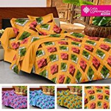 Buy Casa Copenhagen- Basic 144 Thread Count 100% Cotton Double Bedsheet With 2 Pillow Cover- Yellow,Green,Pink,White & Brown from Amazon