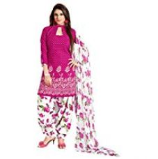 Buy PARISHA Women's Cotton Patiyala Suit Dress Material(PVVRCC39043_Pink,White) from Amazon