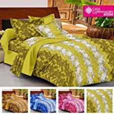 Buy Casa Basic 144 Thread Count Double Bedsheet With 2 Pillow Cover-Green from Amazon