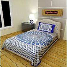 Buy RajasthaniKart Classic 2 Piece 144 TC Cotton Single Bedsheet with Pillow Cover - Abstract, Blue from Amazon