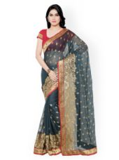 Flat 70% off on Colors Grey Embroidered Georgette Saree