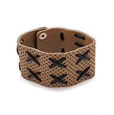 Valentine Gifts: Dare By Voylla Brown Faux Leather Bracelet For Men, Boyfriend & Husband for Rs. 187